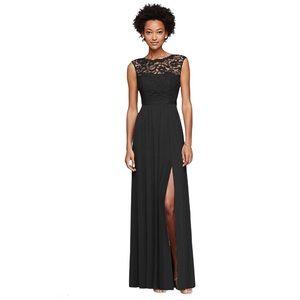 Davids bridal black lace Long Bridesmaid Dress